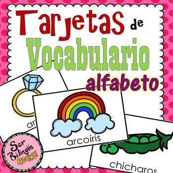 Estas tarjetas pueden ser utilizadas para que los estudiantes aprendan diferente vocabulario con cada letra. Las tarjetas pueden ser usadas como tu lo prefieras.Cada Letra del alfabeto incluye de 4-6 palabras (incluyendo la , rr, ch, ll).Palabras incluidas:a- avin, astronauta, ngel, guila, anillo, arcoris, b- baln, ballena, basura, bote, blanco, botellac- carro, cuna, coco, camin, casa, cebrach- chicharos, chicle, chocolate, chimenea, chile, champd- dulce, dinosaurio, dientes, dona, dos…