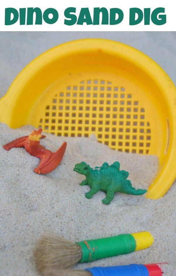 Dinosaur Sand Dig! And other fun Dinosaur Camp ideas!