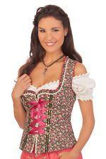 Krüger Dirndl Damen Trachten Mieder Corsage Banu grün Blumen Oktoberfest Wiesn