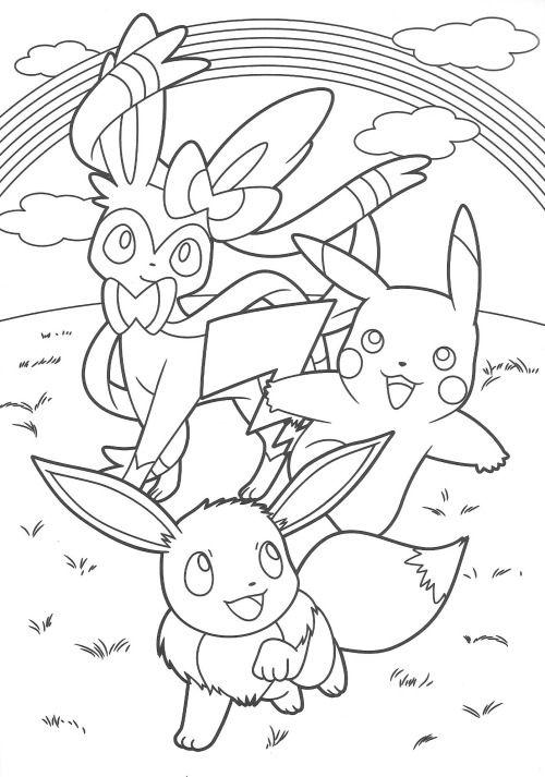 Pikachu and Eevee Friends coloring