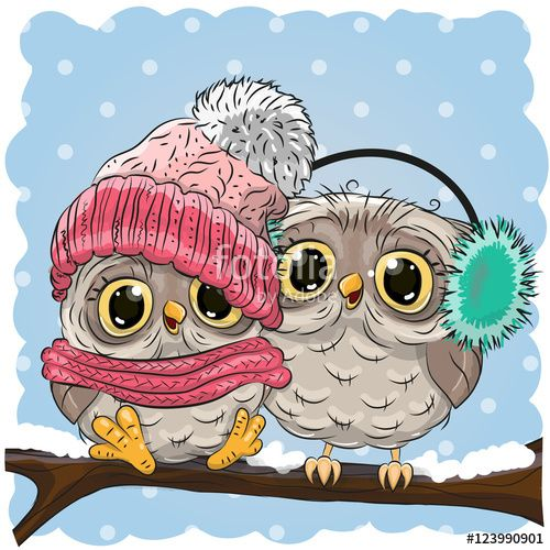 Вектор: Две симпатичные совы