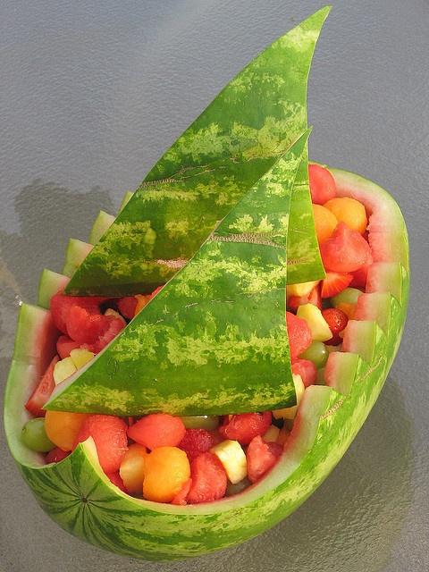 Water Melon Sailboat Fruit Salad - @Diane Zink Dickinson = )