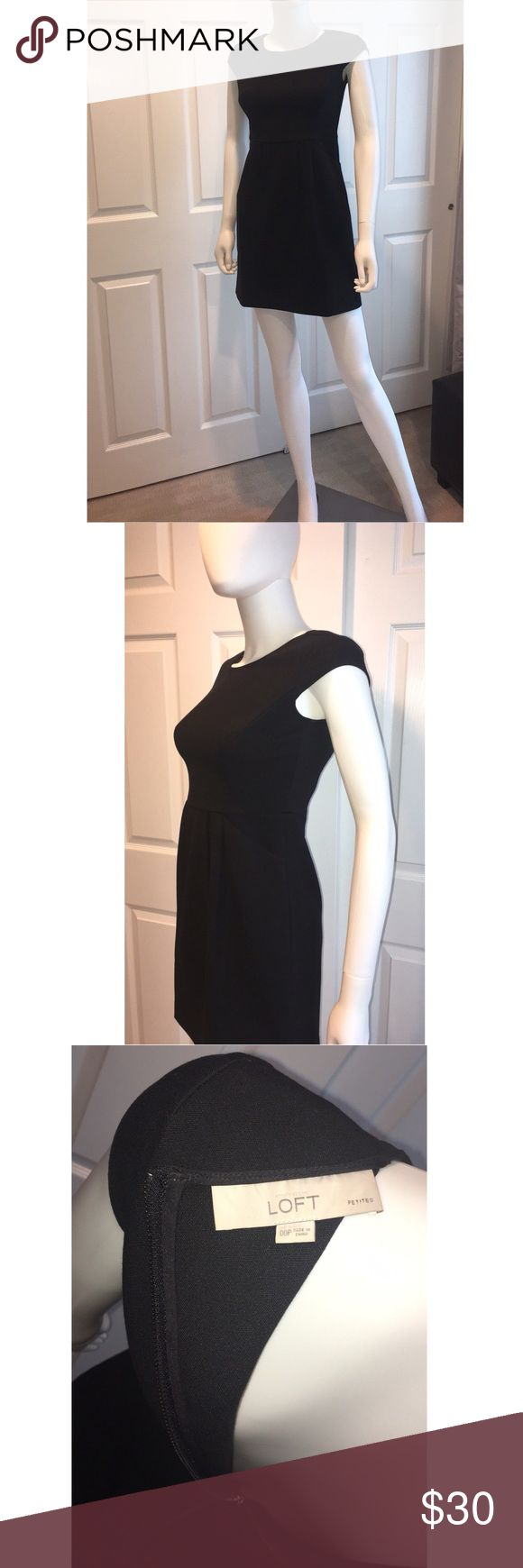 Loft Little Black Dress 00Patite  W/ Pockets Great lil black dress for casual outings or business.  Lightly used Cap Sleeve 72%Polyester 27% Rayon 1% Spandex LOFT Dresses Midi