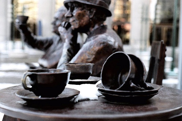"""Famous Five Foundation by Sherlock77 (James), via Flickr.  Bronze statues of Henrietta Muir Edwards (L) and Louise McKinney (R) on display in downtown Calgary. These gorgeous statues were created by Barbara Paterson. The Famous Five or The Valiant Five were five Canadian women who asked the Supreme Court of Canada to answer the question, """"Does the word 'Persons' in Section 24 of the British North America Act, 1867, include female persons?"""""""