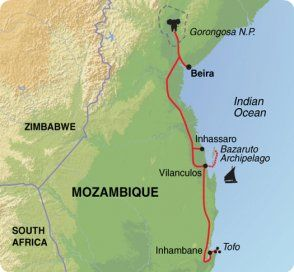 Map of Exodus Travels Mozambique Marine Adventure trip itinerary.