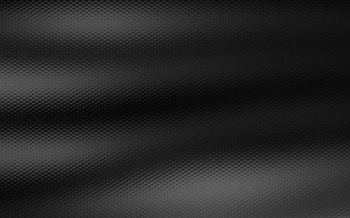 Download wallpapers fabric texture, 4k, waves, black background, dark texture