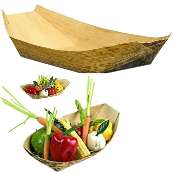 Disposable Bamboo Sheath Food Boats Dinnerware by Bamboo Studio are great for events and restaurants. Bamboo is emerging as an alternative resource to other types of wood. In the past, people intuitively used it as a basic material for making many different household objects and small structures. However, ongoing research and engineering efforts are enabling us to realize bamboo's true value as a renewable, versatile and readily available economic resource. All-Occasion Dinnerware is hand...