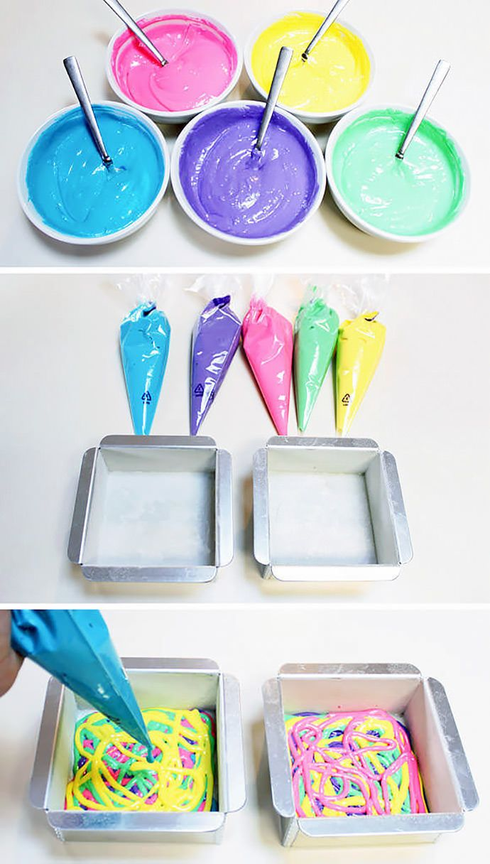 DIY Tie-Dye Cake Recipe. Great idea to do names or surprise insides of cakes for kids birthdays