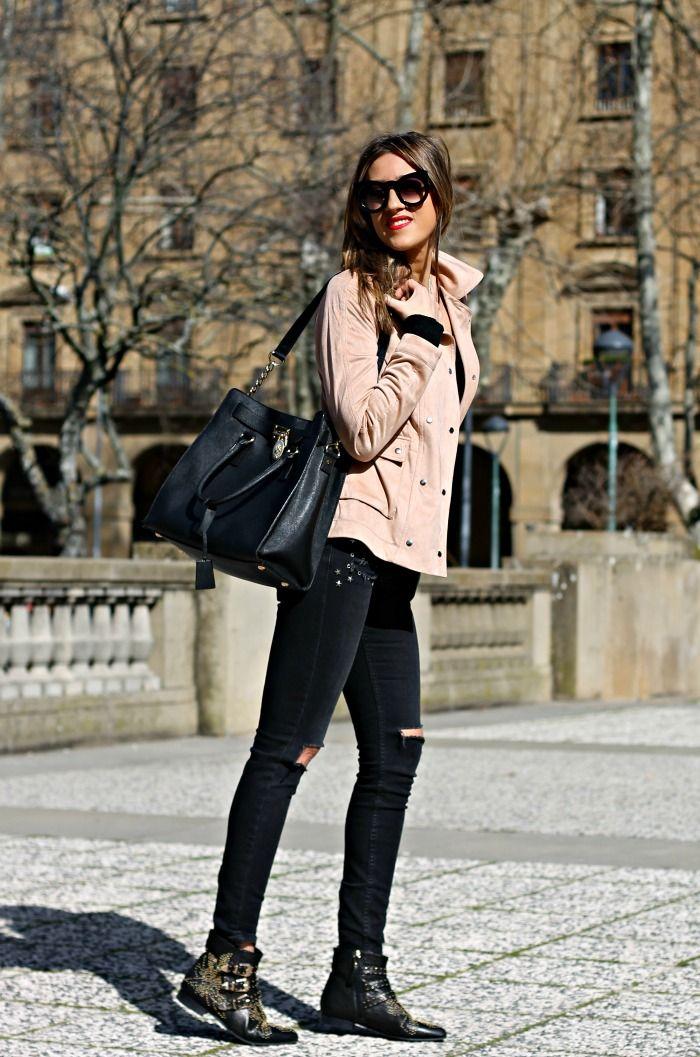 look con chaqueta rosa palo 2