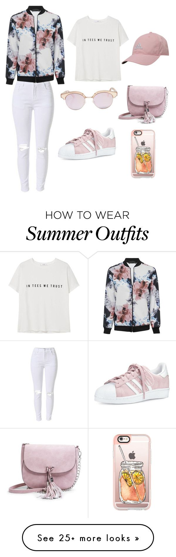 """girly sport outfit"" by nadabakhtir on Polyvore featuring MANGO, Madden Girl, adidas, Casetify and Le Specs"