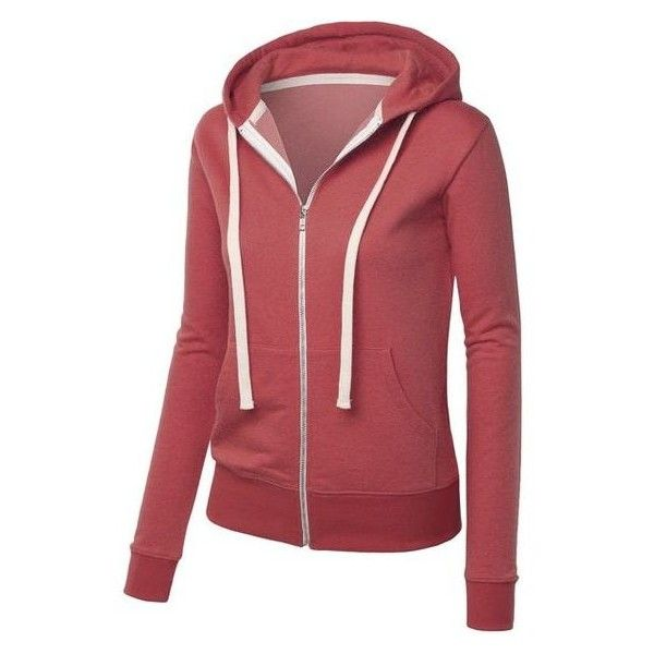 MBJ Womens Active Soft Zip Up Fleece Hoodie Sweater Jacket ❤ liked on Polyvore featuring tops, hoodies, fleece hoodie, zip up hoodie, red top, hooded fleece pullover and zip up tops