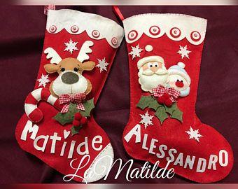 Calza della befana Natalizia fuoriporta, decorazione in feltro e pannolenci. Idea regalo, buon Natale, addobbi, decorazioni