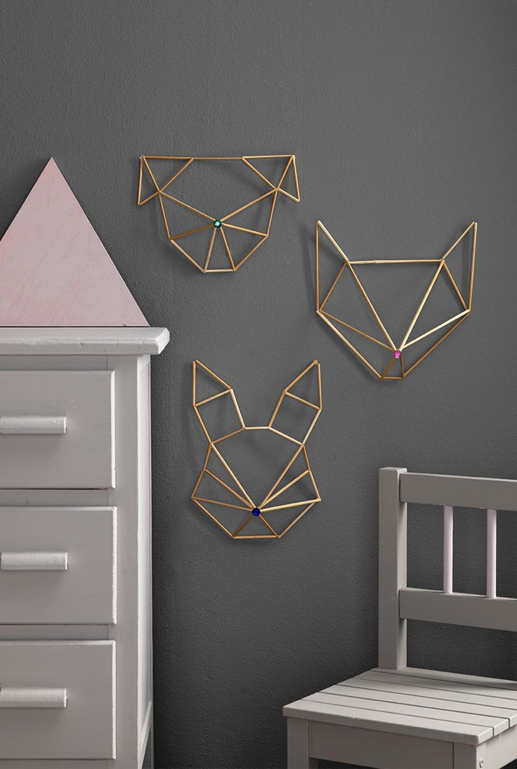 Himmeli head to decorate the walls www.pandurohobby.com Home Decor by Panduro #DIY #kidsroom #himmeli #animals #animalfaces #straw #walldeco