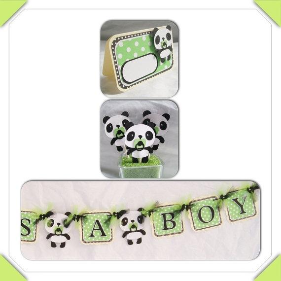 Panda bear baby shower banner
