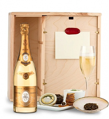 "For the Cristal lover... Champagne & Caviar Experience. Crazy for the presentation of the Napa ""wine box"" and the mother-of -pearl serving set!"