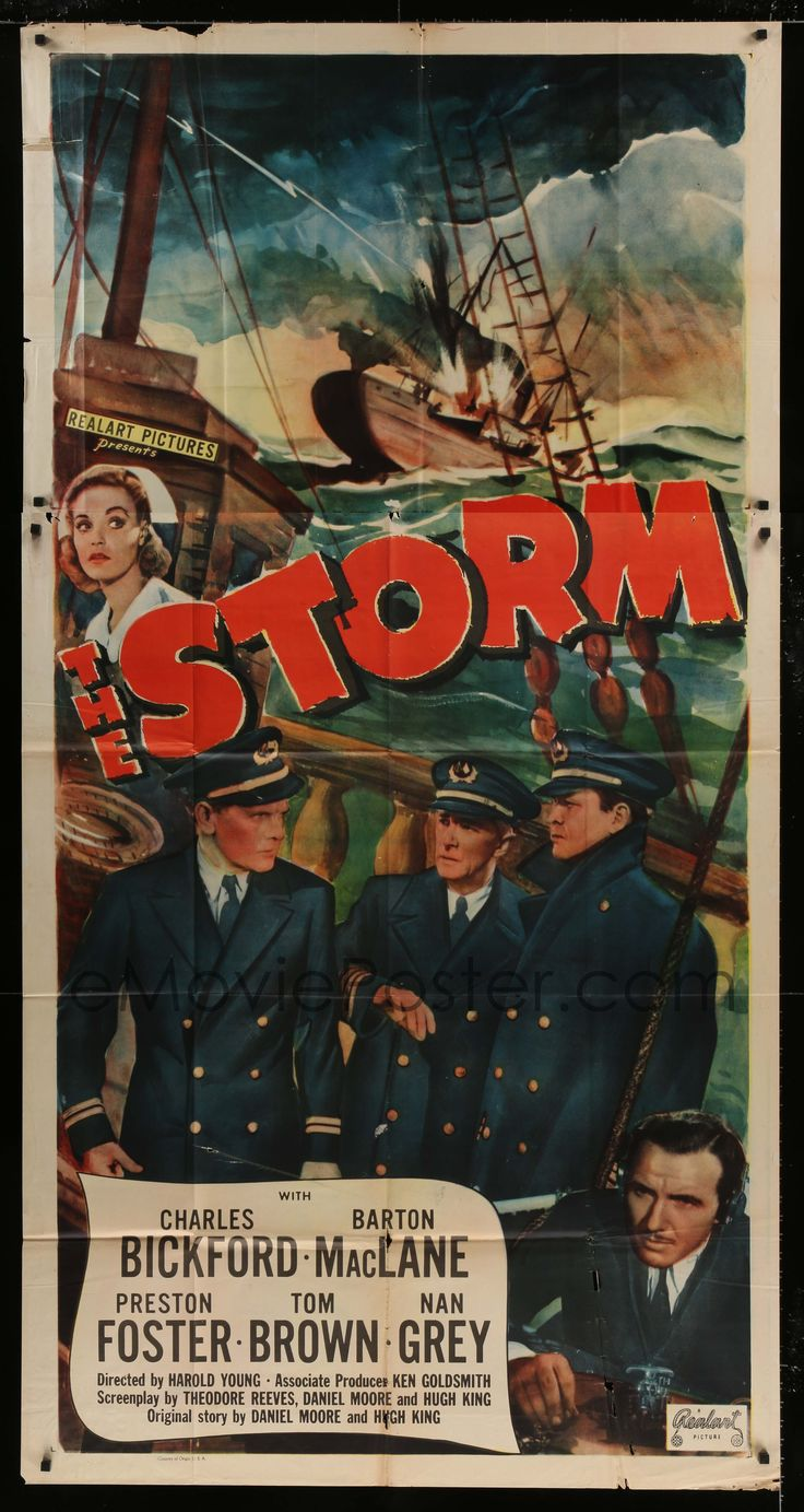 eMoviePoster.com Image For: 7t932 STORM 3sh R1948 Charles Bickford, Barton MacLane & Preston Foster at sea in foul weather!