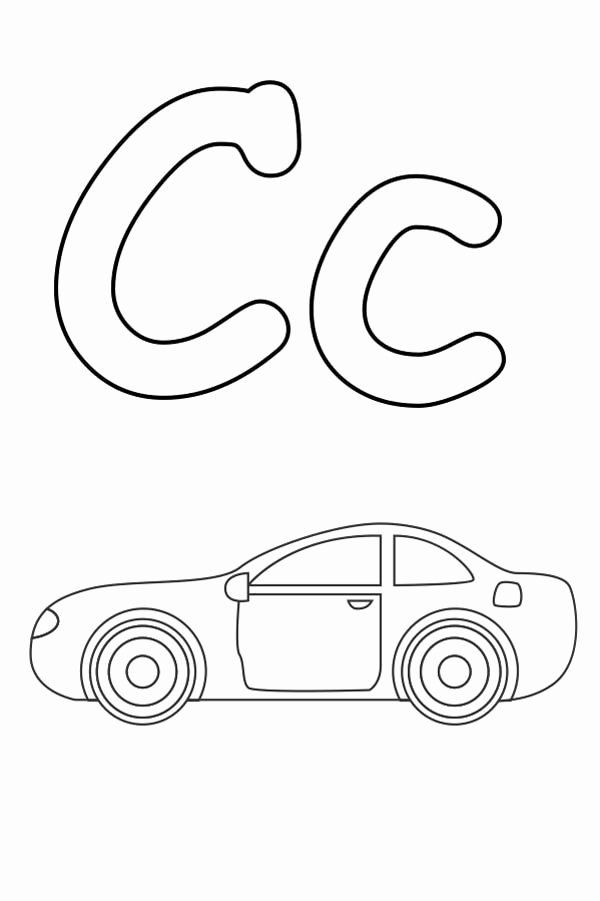 Coloring Page Letter C Beautiful Drawing A Car And Letter C