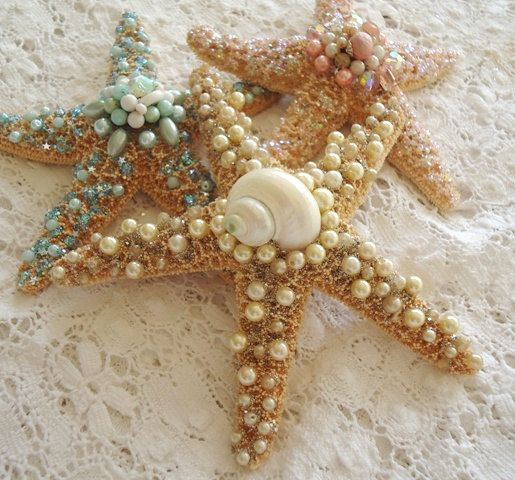 Jeweled Starfish - shabby beach chic