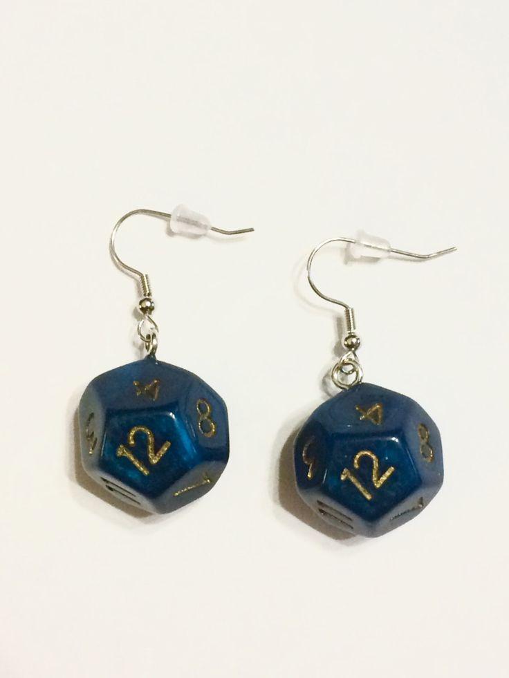 Blue-Green 12 Sided Dice Earrings by SpookyChickCreations on Etsy https://www.etsy.com/listing/496862617/blue-green-12-sided-dice-earrings