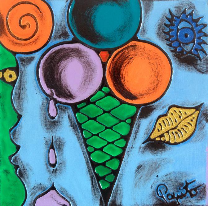 TENTAZIONI #02 - 40x40 cm. - Acrilic on canvas  #ICECREAM #TENTAZIONI #TEMPTATIONS