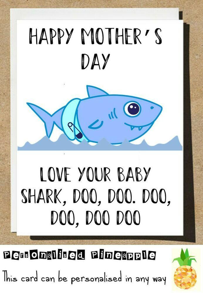 Baby Shark A Doo Doo Card for Mum The Best Mummy  Shark A Do Mothers Day Card