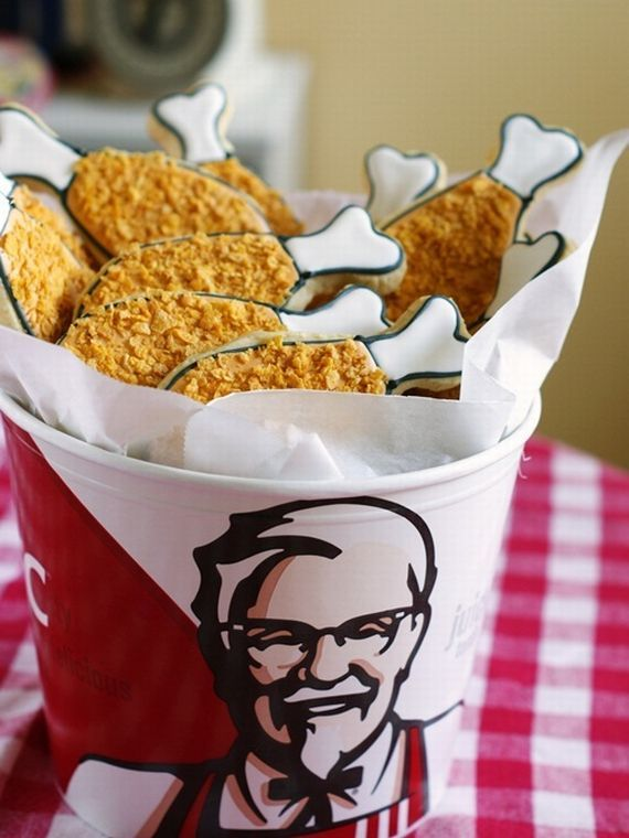 haha KFC...I want to try this!: Sugar Cookies, Fries Chicken, Chicken Cookies, Cookies Decor, Cute Ideas, Kfc Cookies, Decor Cookies, Derby Parties, Watermelon Cookies
