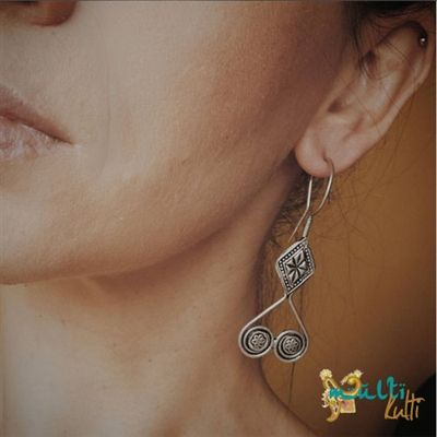 Ethnic jewellery, Central Asia, Silver earrings