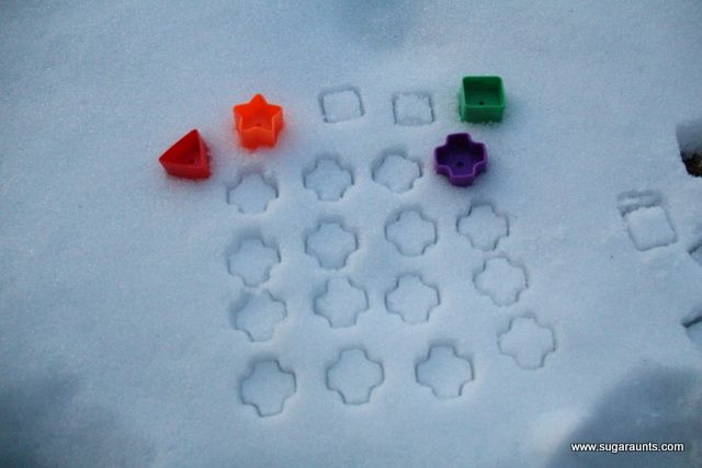 Learn patterns, shapes, colors, sorting...in the snow! Use shape sorter shapes/cookie cutters. Bring toddler toys outside for interest and fun!