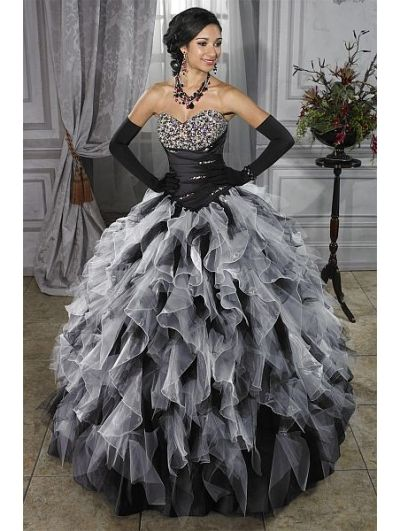 Black and White Ball Gown Gothic Wedding Dress