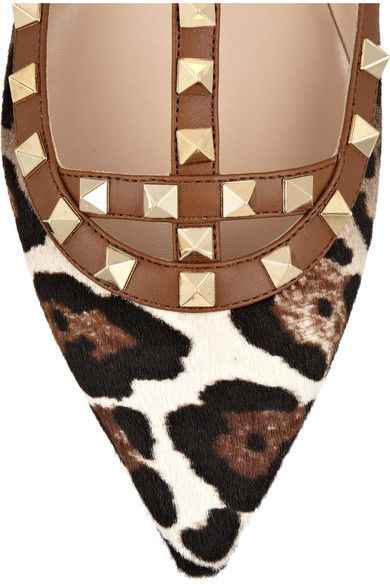 VALENTINO Rockstud leather and leopard-print calf hair point-toe flats. WOW. That is all.