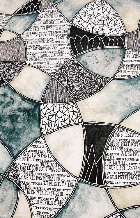 Rebecca Blair's art journal - Jacques Brel | watercolor, ink, pen #patterns #text