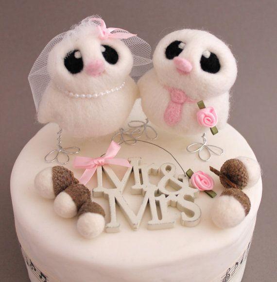 Custom Bird Wedding Cake Topper Bride and Groom by feltmeupdesigns, £52.00