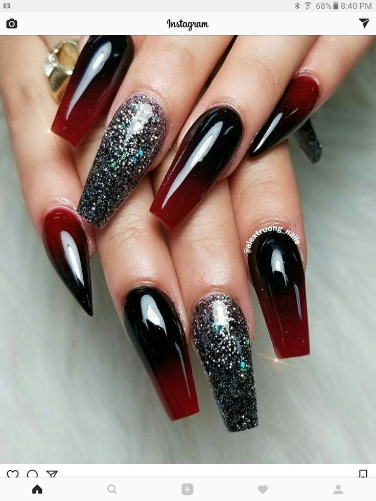 Red And Black Ombre Nails Red Ombre Nails Ombre Nail Designs Black Ombre Nails