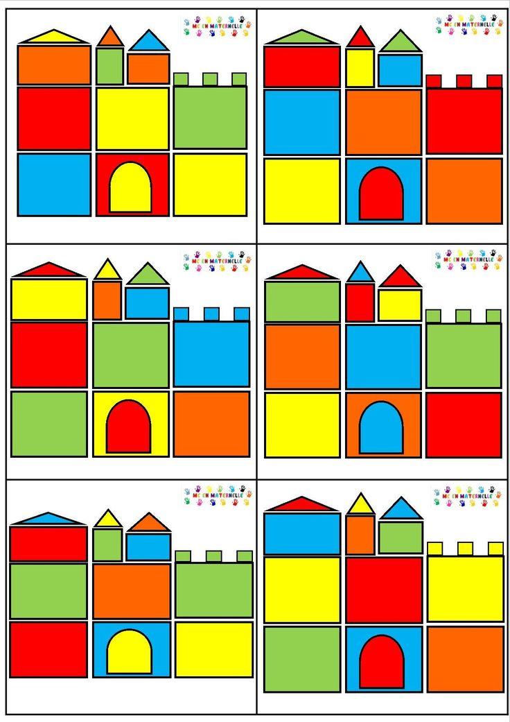 Reconstruction d'un château à partir de formes géométriques en couleur Cartes modèles Forme 1 - p 7    P 1 à 6 : châteaux modèles en A4      p 8 : château à imprimer sur des feuilles de couleur : bleu, rouge, vert, orange et jaune      Cartes modèles Forme 2 - p15    p 9 à 14 : châteaux modèles plus compliqués en A4      p 16 : château plus compliqué à imprimer sur des feuilles de couleur : bleu, rouge, vert, orange et jaune    chateau-espace-v22   [amazon_link asins='2745953559'…