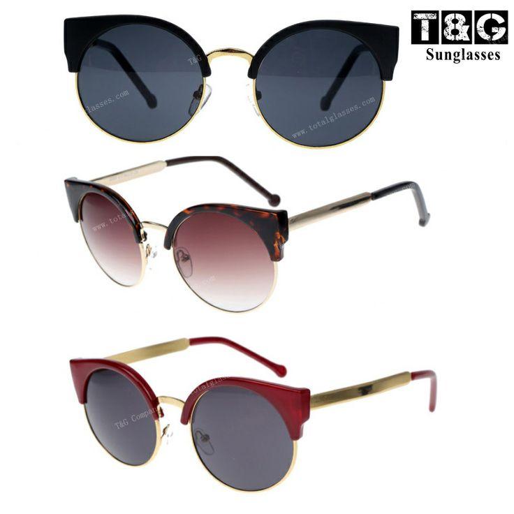 Free Shipping New 2013 Super Retro Glasses Half Metal Rim Vintage Women Sunglasses Cateyes Designer Eyeglasses For Girls Oculos-inSunglasses...