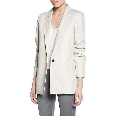 £20 Buy Mango Linen Cotton-Blend Blazer, Light Beige Online at johnlewis.com