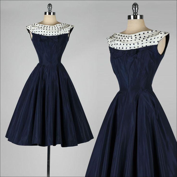 vintage 1950s dress navy blue polka dot by. Black Bedroom Furniture Sets. Home Design Ideas