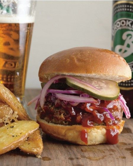 The best burger in town could be on your grill. Brooklyn Beer Chili Sliders with Smoky BBQ Sauce, Oil-and-Vinegar Slaw, and Sweet'n'Spicy Pickles from Rachael Ray's THE BOOK OF BURGER