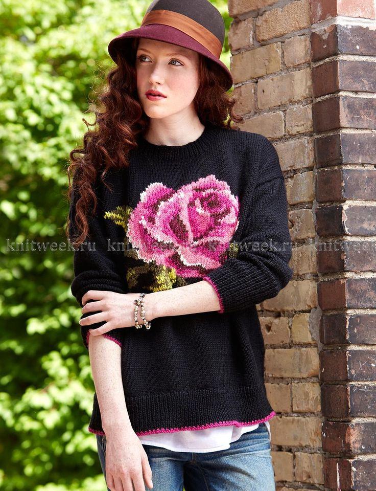Свитер спицами с розой на knitweek.ru