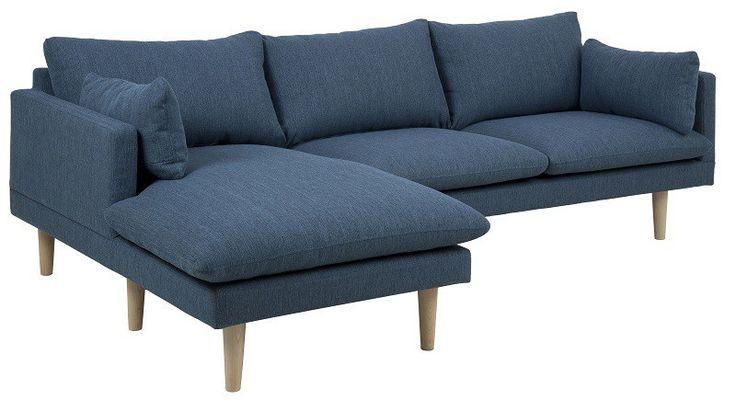 Salena+2+personers+Sofa+-+Blå+-+Chaise+venstre+-+Salena+2+ ...