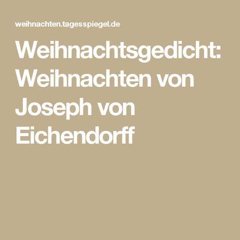 Weihnachtsgedicht: Weihnachten von Joseph von Eichendorff