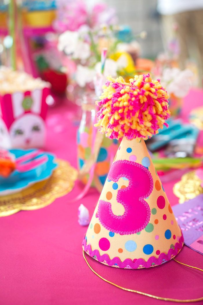 Pom pom party hat from a Floral Shopkins Birthday Party on Kara's Party Ideas | KarasPartyIdeas.com (18)