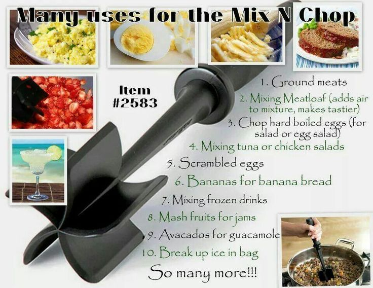 Uses for the Pampered Chef Mix N Chop. Contact me for details! Macampbell8414@gmail.com. Instagram: Mere_PChef. Please visit my website! https://www.pamperedchef.com/pws/merec .