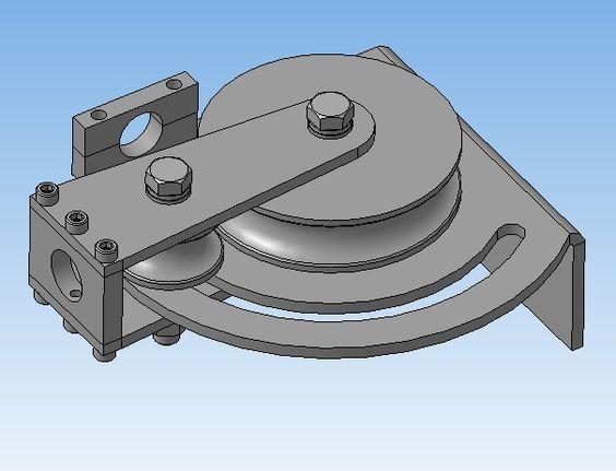 3D-модель трубогиба для гаражного использования. Диаметр трубы данного трубогиба 22, ролики могут быть изменены на другой размер.