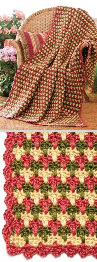 Garden Plaid Throw, by Margaret Wilson; free pattern on FreeCrochet dot com #crochet #afghan #blanket