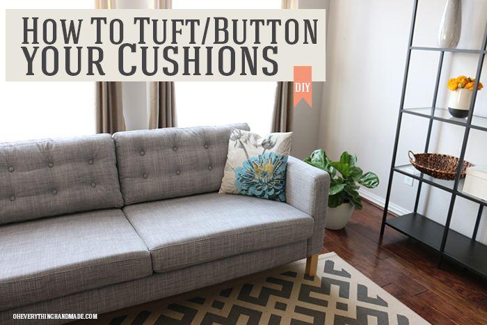 How to tuft Ikea Karlstad Sofa cushions