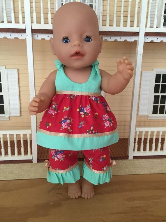 Green Floral and Pink Summer Outfit by DebsDollsClothes on Etsy