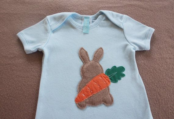 Easter Onesie with Bunny and carrot by keb4kids on Etsy