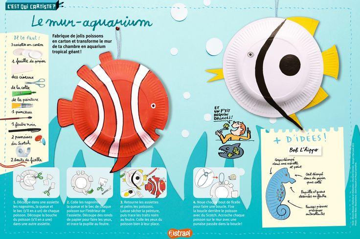 De jolis poissons à fabriquer avec des assiettes en carton. Pour transformer ta chambre en aquarium. (Extrait du magazine Astrapi n°842 août 2015, pour les enfants de 7 à 11 ans).