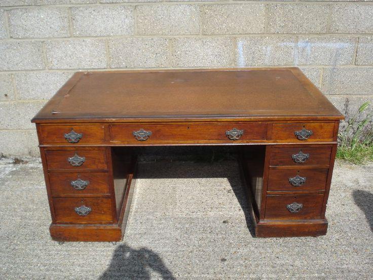 5ft Antique Desk - Large Victorian Walnut Pedestal Desk With Leather Inset - 99 Best Antique Desks Images On Pinterest Antique Desk, Antique